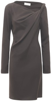 Sportmax Jessy Draped Silk Cady Knee Length Dress
