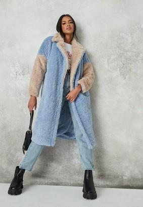 Missguided Blue Colorblock Faux Fur Coat