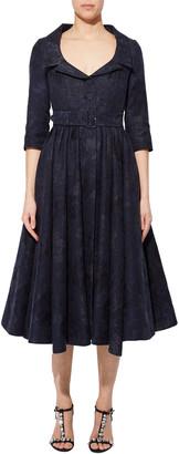 Erdem Brocade Belled Belted Midi Dress