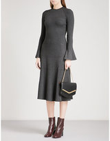 Sandro Pointelle-knit ribbed-knit midi dress