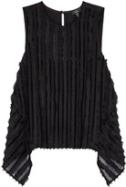 Clu Black Striped Chiffon Tank Top