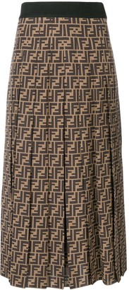 Fendi FF motif flared pleated skirt