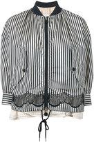 Moncler striped layered bomber jacket - women - Cotton/Polyamide/Polyester - 0