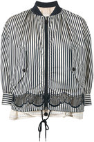 Moncler striped layered bomber jacket - women - Cotton/Polyamide/Polyester - 1