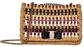 Salvatore Ferragamo Vara Rainbow Raffia Crossbody (Almond) Handbags