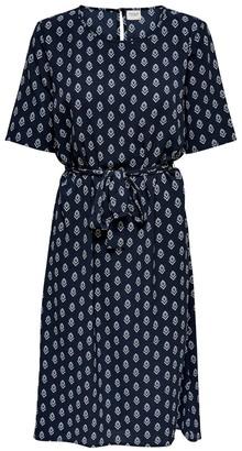 Jacqueline De Yong Graphic Print Midi Dress with Tie-Waist