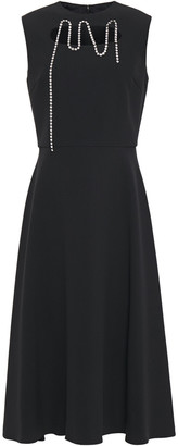 Christopher Kane Squiggle Cupchain Crystal-embellished Cutout Crepe Midi Dress