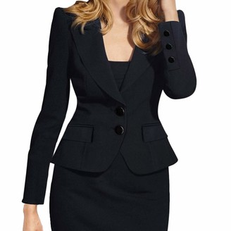 Kalorywee Sale Cleance Blazer KaloryWee Black Boyfriend Blazer Women Ladies Plain Formal Tailored Blazer Button Up