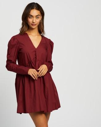 Missguided Poplin V-Neck LS Button Smock Dress