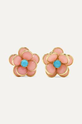 GUITA M 18-karat Gold, Opal And Turquoise Earrings