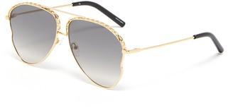 Matthew Williamson Chain element irregular metal frame aviator sunglasses