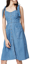 Warehouse Tie Strap Pocket Dress, Light Wash Denim