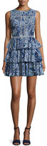Cynthia Rowley Sleeveless Tiered-Skirt Dress, Navy
