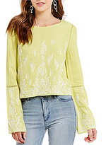 Buffalo David Bitton Tilly Embroidered Bell Sleeve Top