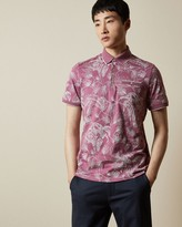 Ted Baker Linear Floral Print Polo Shirt