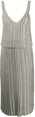 Brunello Cucinelli Metallic Pleated Midi Dress