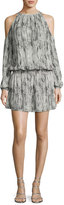 Ramy Brook Lauren Snakeskin Cold-Shoulder Blouson Dress, Gunmetal