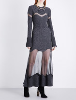 Alexander McQueen Sheer-detailed wool-boucle dress