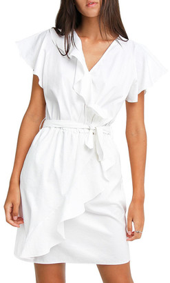 Belle & Bloom Best Selfie white Ruffle Dress