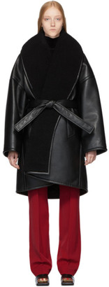 Balenciaga Black Faux-Leather Light Cocoon Coat