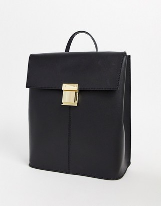 Asos Design DESIGN leather pushlock backpack