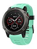 Voberry Soft Silicone Strap Replacement Watch Band With Tools For Garmin Fenix 5X GPS Watch (Mint Green)