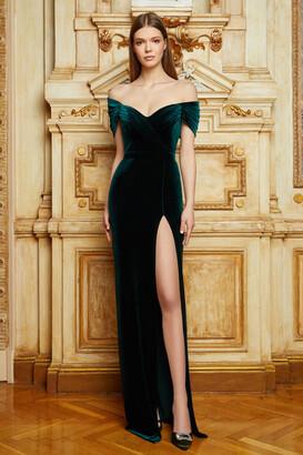 Cristallini Off the Shoulder Velvet Gown
