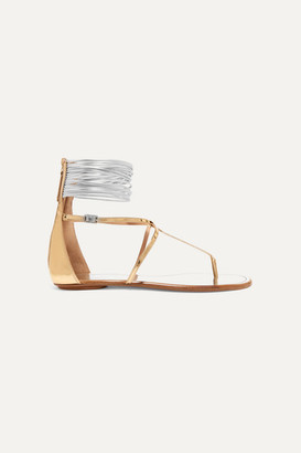 Aquazzura Spin Me Around Metallic Leather And Cord Sandals - Gold
