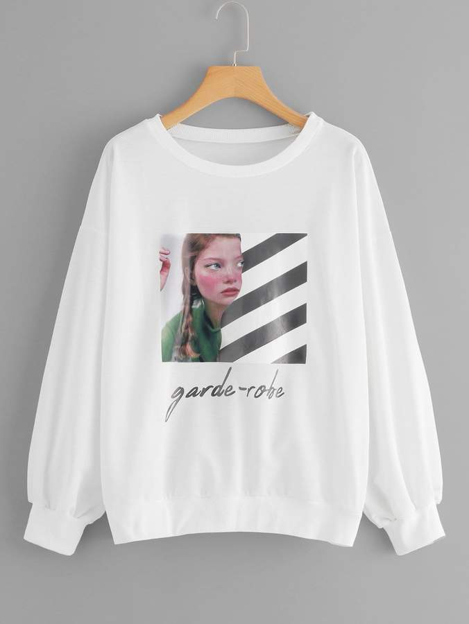 Plus Figure And Letter Print Sweatshirt