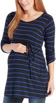 Black & Cobalt Stripe Tie-Waist Maternity Tunic