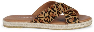 J/Slides Animal-Print Calf Hair Sandals