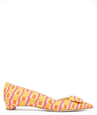Rupert Sanderson Aga Graphic-print Point-toe Poplin Flats - Womens - Multi