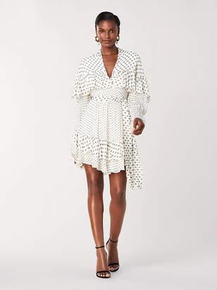 Diane von Furstenberg Martina Chiffon Ruffled Mini Wrap Dress