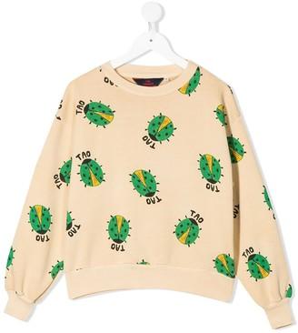 The Animals Observatory Ladybug Print Crew Neck Sweatshirt