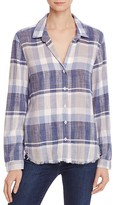 Bella Dahl Plaid Frayed Hem Shirt