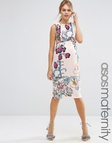 Asos Wiggle Dress In Floral Print With Ruffle