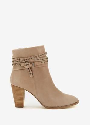 Mint Velvet Jade Taupe Nubuck Stud Boots