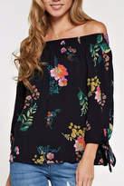 Love Stitch Floral Off Shoulder Top