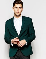 Asos Slim Jacket With Stretch In Green