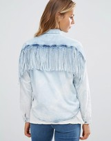Maison Scotch Indigo Denim Fringed Back Shirt
