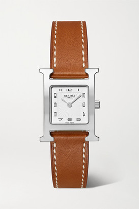 HERMÈS TIMEPIECES Heure H 21mm Small Stainless Steel And Leather Watch - Brown