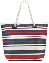 San Diego Hat Company Woven Striped Straw Tote Bag with Rope Handles
