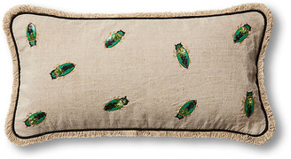 Joanna Buchanan Embroidered Beetle 10x20 Pillow - Natural/Emerald Linen