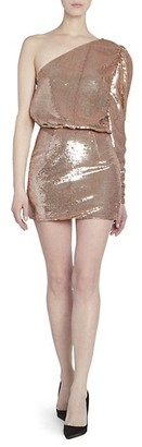 Alexandre Vauthier Micro Sequins One-Shoulder Blouson Mini Dress