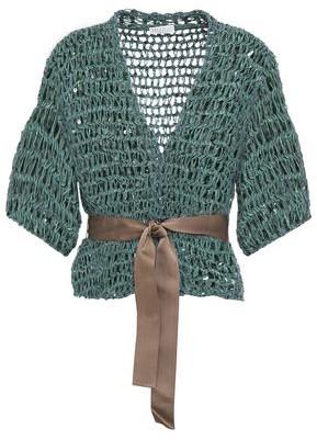Brunello Cucinelli Sequin-embellished Open-knit Cardigan
