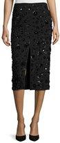 Michael Kors Sequined-Floral Front-Slit Pencil Skirt, Black