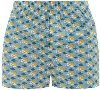Sunspel Sun And Cloud Print Cotton Boxer Shorts - Mens - Light Blue