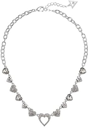 GUESS Repeating Hearts Link Necklace with Crystal Pave (Silver) Necklace
