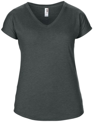 Anvil Womens/Ladies Short Sleeve Tri-Blend V-Neck T-Shirt (S) (Heather Dark Grey)