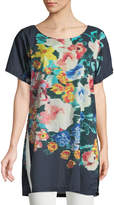 Johnny Was Bayla Long Floral-Print Voile Tunic, Navy